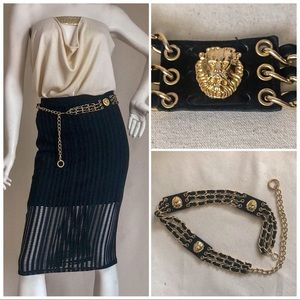 Accessories - Gold Lion Head Belt - Leather & Gold Chain- Size M